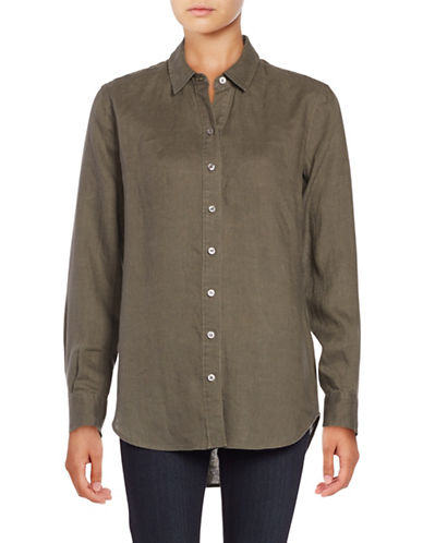Lord & Taylor Linen Blouse-GREEN-X-Small