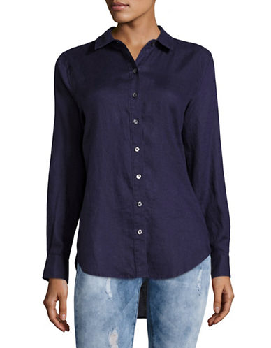 Lord & Taylor Linen Blouse-EVE BLUE-X-Small