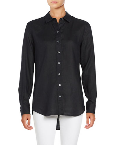 Lord & Taylor Linen Blouse-BLACK-Medium