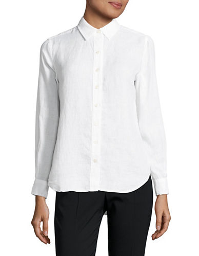 Lord & Taylor Petite Plus Linen Shirt-WHITE-Petite Large