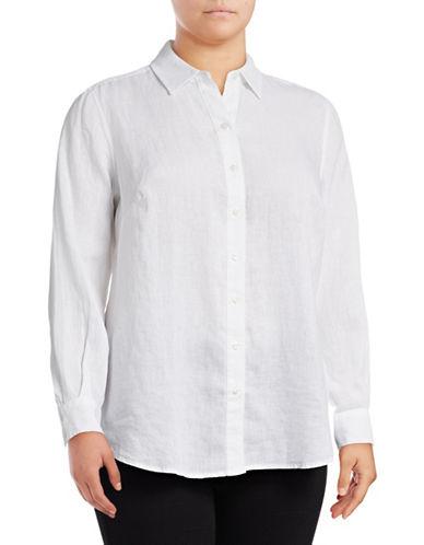 Lord & Taylor Plus Plus Linen Shirt-WHITE-1X