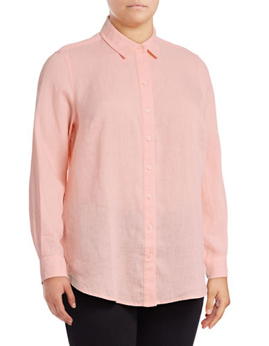 Lord & Taylor Plus Plus Linen Shirt-ORANGE-0X