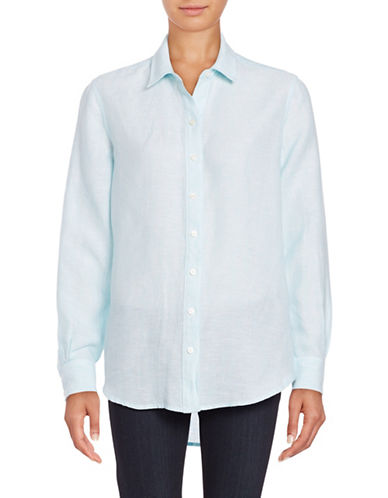 Lord & Taylor Cross Dyed Solid Shirt-SURF-Large