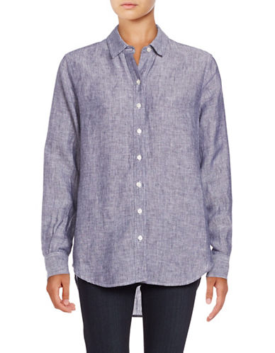 Lord & Taylor Cross Dyed Solid Shirt-BLUE-Small