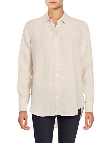 Lord & Taylor Natural Solid Shirt-BROWN-Medium