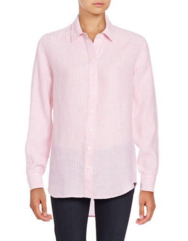 Lord & Taylor Long Sleeve Striped Shirt-ROSE MULTI-Large
