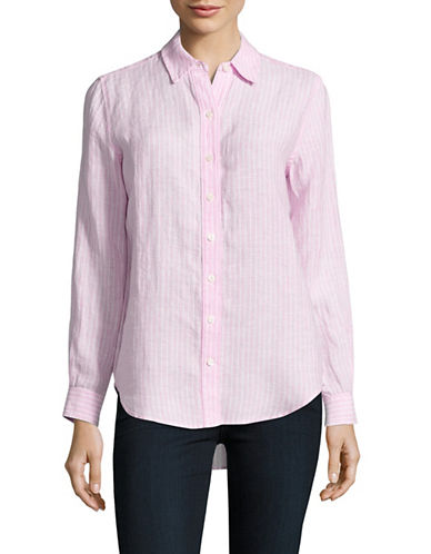 Lord & Taylor Petite Striped Linen Shirt-RED-Petite Medium