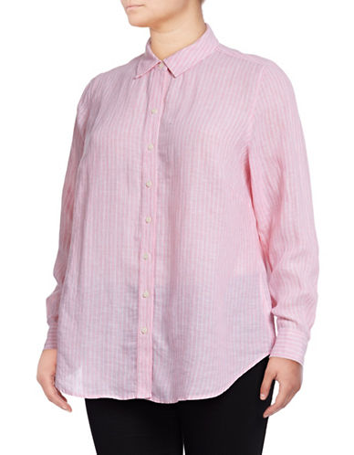 Lord & Taylor Plus Striped Linen Shirt-ROSE MULTI-1X