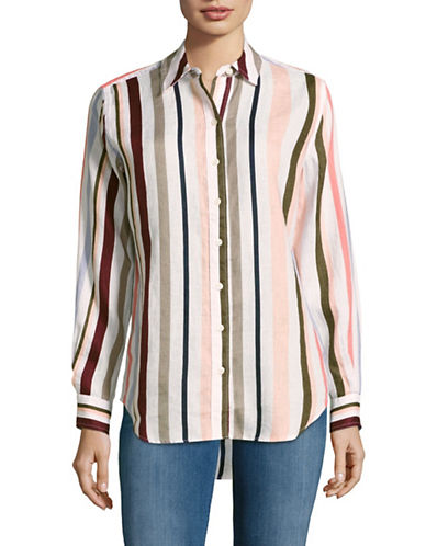 Lord & Taylor Striped Linen Shirt-MULTI-Small