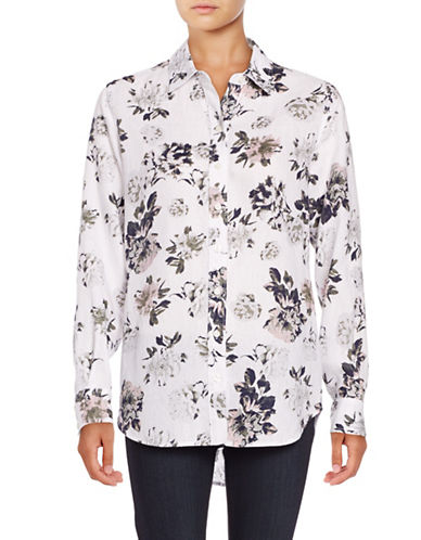 Lord & Taylor Allover Floral Printed Shirt-WHITE MULTI-Small