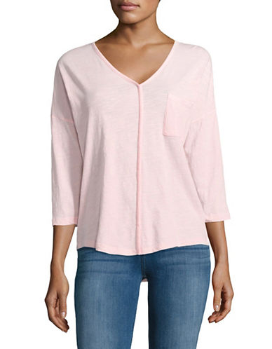 Lord & Taylor V-Neck Pocket Dolman Tee-PINK-X-Small 88799953_PINK_X-Small