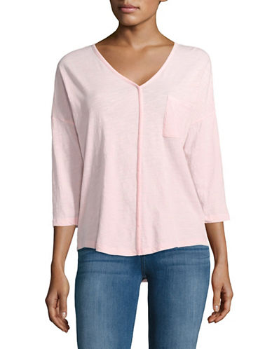 Lord & Taylor Plus V-Neck Dolman Pocket Tee-PINK MIST-1X