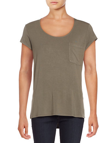 Lord & Taylor Solid Pocket Tee-GREEN-X-Small 88832515_GREEN_X-Small