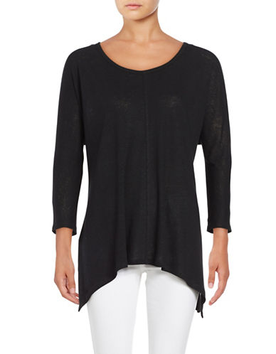 Lord & Taylor Asymmetrical Knit Top-BLACK-Medium 88873106_BLACK_Medium