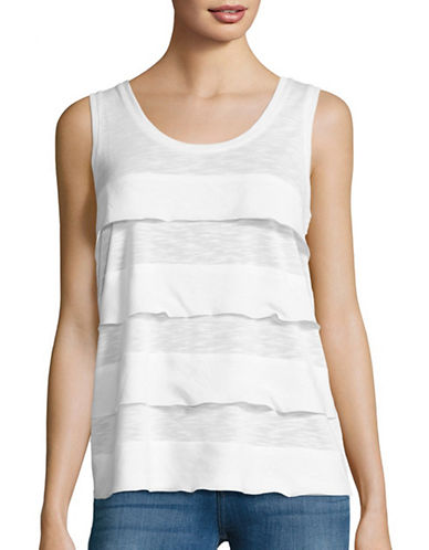 Lord & Taylor Mixed Media Tiered Tank-WHITE-Large 88834945_WHITE_Large