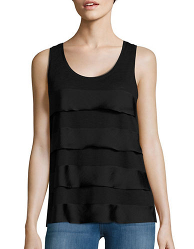 Lord & Taylor Mixed Media Tiered Tank-BLACK-X-Large 88834941_BLACK_X-Large