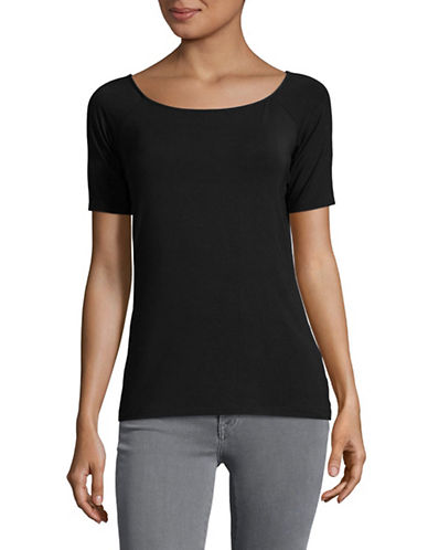 Lord & Taylor Short Sleeved Jersey Tee-BLACK-Large