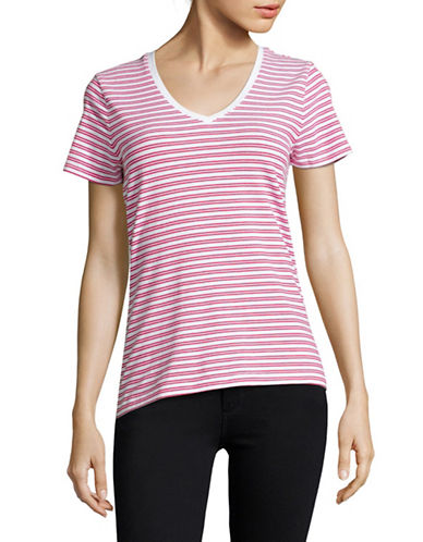 Lord & Taylor Plus Striped Compact Cotton T-Shirt-PINK-Large