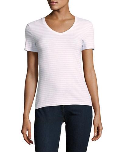 Lord & Taylor Petite Plus Striped Compact Cotton T-Shirt-BLUE-Petite Large