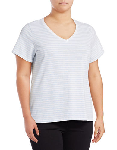 Lord & Taylor Plus Plus Striped Compact Cotton T-Shirt-BLUE-1X