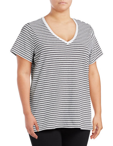 Lord & Taylor Plus Striped Compact Cotton T-Shirt-BLACK-X-Large