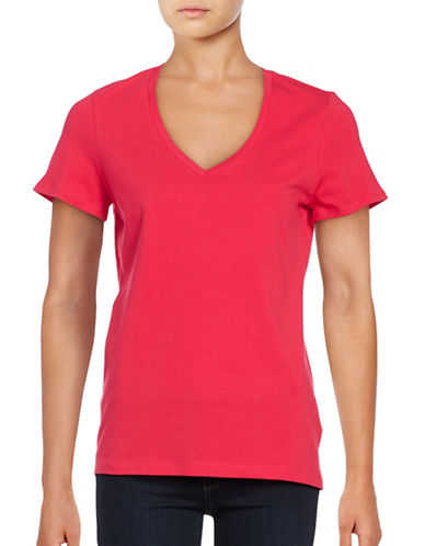 Lord & Taylor Solid V-Neck T-Shirt-PINK-X-Small 88834622_PINK_X-Small