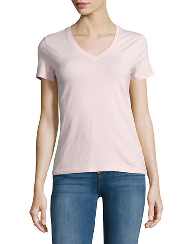 Lord & Taylor Plus Solid V-Neck T-Shirt-PINK HEATHER-1X