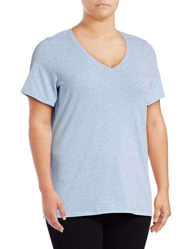 Lord & Taylor Plus Solid V-Neck T-Shirt-BLUE-0X