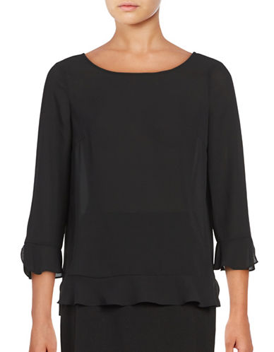 Lord & Taylor Fluted Sleeve Peplum Top-BLACK-Medium 88837083_BLACK_Medium