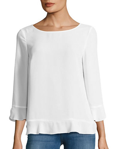 Lord & Taylor Fluted Sleeve Peplum Top-WHITE-X-Small 88837086_WHITE_X-Small