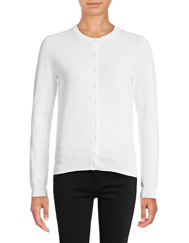 Lord & Taylor Crew Neck Cardigan-WHITE-X-Small 88817474_WHITE_X-Small