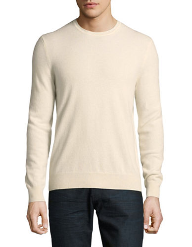 Black Brown 1826 Cashmere Crew Neck Sweater-WHITE-X-Large