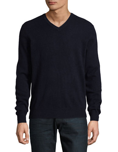 Black Brown 1826 Cashmere V-Neck Sweater-DARK NAVY-Medium