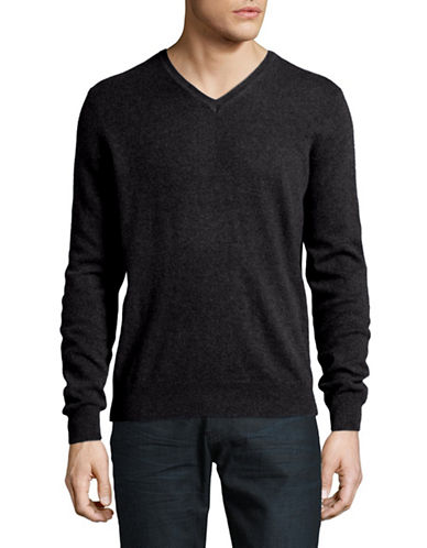 Black Brown 1826 Cashmere V-Neck Sweater-CHARCOAL-Large