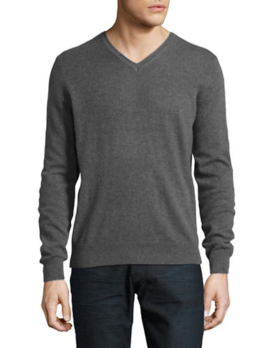 Black Brown 1826 Cashmere V-Neck Sweater-STONE GREY-XXX-Large