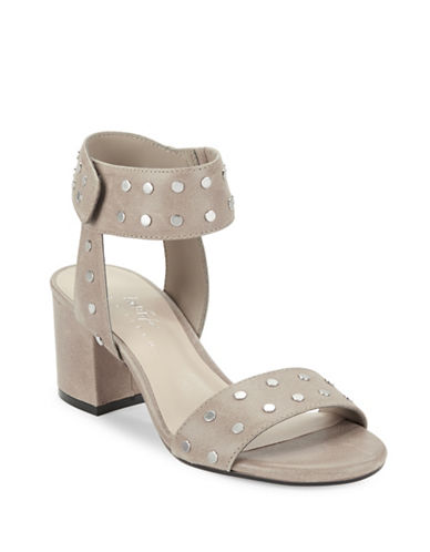 424 Fifth Harrow Studded Leather Open-Toe Sandals-GREY-7.5