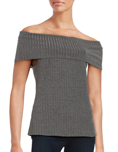 H Halston Ribbed Off-the-Shoulder Top-GREY-X-Small 88722980_GREY_X-Small
