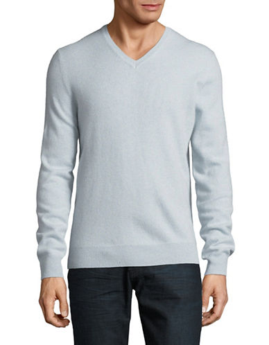 Black Brown 1826 Cashmere V-Neck Sweater-LIGHT BLUE-X-Large