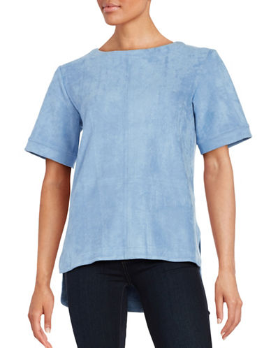 H Halston Faux Suede Top-BLUE-Medium