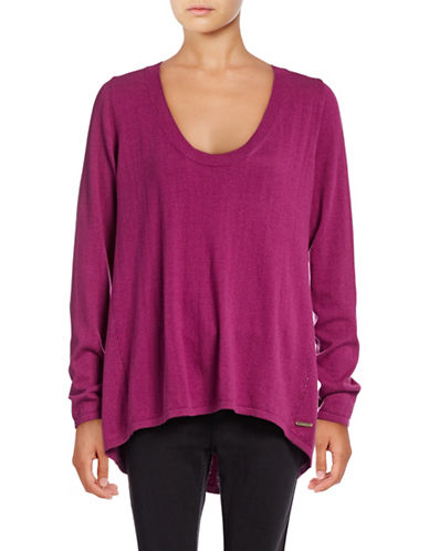 H Halston Scoop Neck Hi-Lo Sweater-PURPLE-X-Small