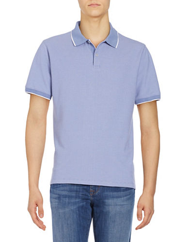 Black Brown 1826 Textured Cotton Polo-STONE BLUE-Small