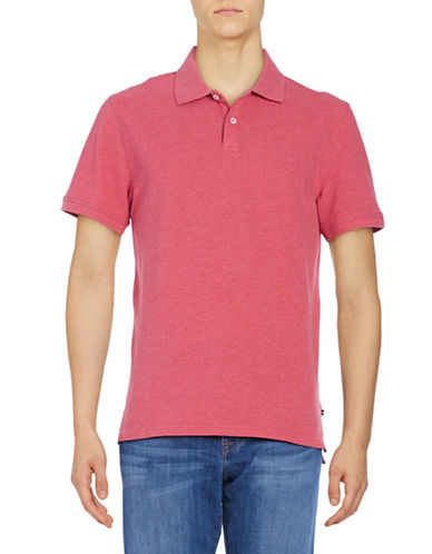 Black Brown 1826 Short Sleeve Solid Pique Core Polo-RED-X-Large