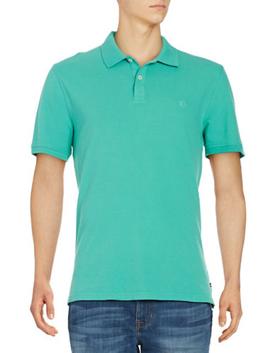 Black Brown 1826 Short Sleeve Solid Pique Core Polo-GREEN-Small
