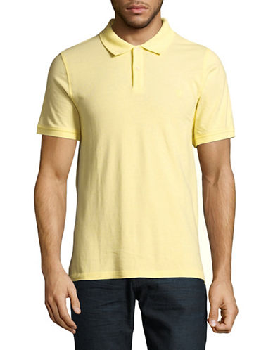 Black Brown 1826 Short Sleeve Solid Pique Core Polo-YELLOW-Medium