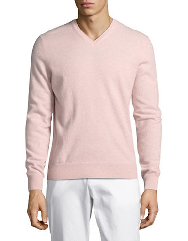 Black Brown 1826 Cashmere V-Neck Sweater-PINK-Small