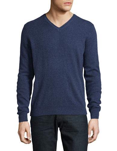 Black Brown 1826 Cashmere V-Neck Sweater-NAVY-Large