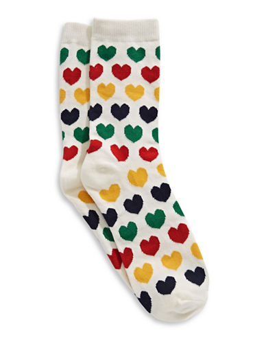 HudsonS Bay Company Womens Hearts One Size Crew Socks-MULTI-9-11