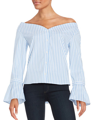 Highline Collective Striped Off-the-Shoulder Top-BLUE-Small 88754286_BLUE_Small