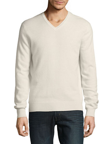 Black Brown 1826 Cashmere V-Neck Sweater-WHITE-Small