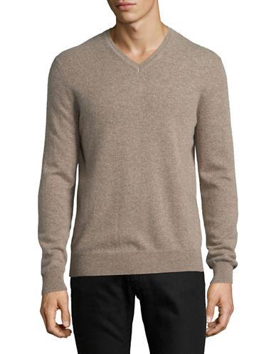 Black Brown 1826 Cashmere V-Neck Sweater-BROWN-Medium